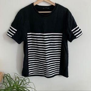 Alexander Wang - Black Short Sleeve White Stripes